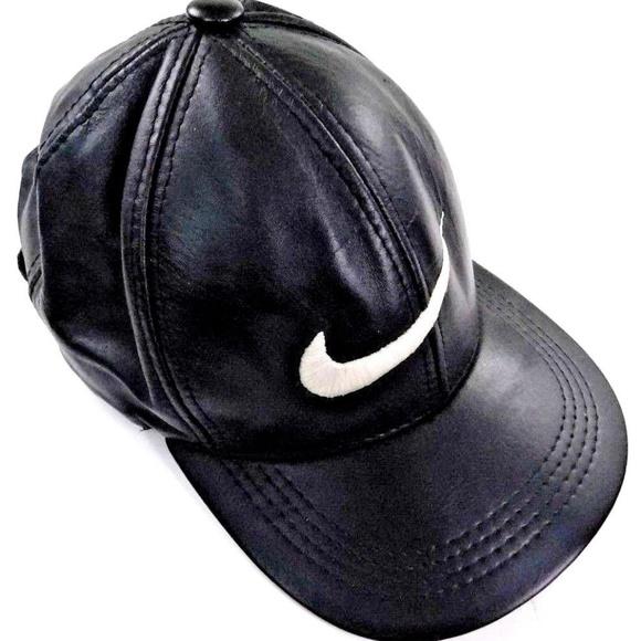 3525e6b68 Vintage Nike Swoosh Symbol Black Leather Hat
